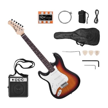 Ammoon E-gitarre Massivholz Paulownia Körper Ahorn Hals 21 Bünde 6 String mit Lautsprecher Pitch Rohr Gitarre Tasche Strap Plektren Linke Hand