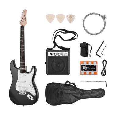 Ammoon E-gitarre Massivholz Paulownia Körper Ahorn Hals 21 Bünde 6 String mit Lautsprecher Pitch Rohr Gitarre Tasche Strap Picks Rechte Hand