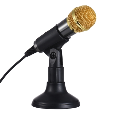TRanshine PC-309 Mini Vocal/Instrument Microphone Portable Handheld Karaoke Singing Recording Mic Stand Bracket Holder iPhone Android Smartphone PC Mobile Phone Laptop Notebook