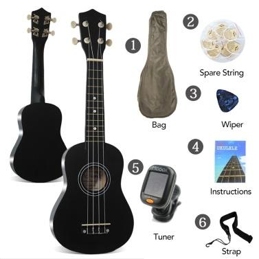 """21 """"Ukulele Soprano Rosewood Nylon acústico 4 cordas Ukulele Bass Guitar"""