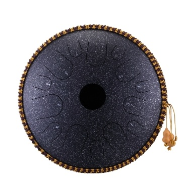 14 Zoll 14 Hinweis Handpfanne aus legiertem Stahl C-Ton Manuelle Percussion-Handpfannentrommel mit Ebenholz-Trommelstöcken