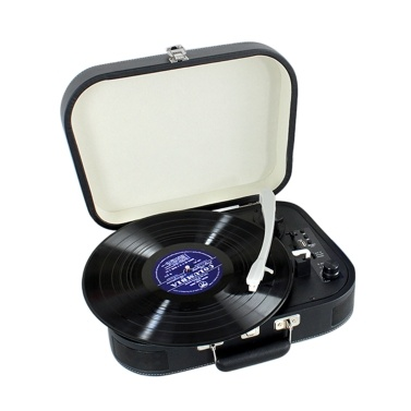 Vintage Phonograph 3-Speed BT Portable Suitcase Record Player Turntable with Aux Input RCA Output Headphone Jack USB Port