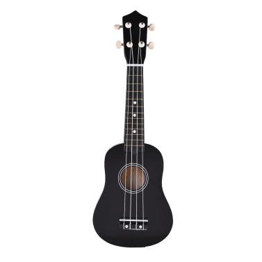 muslady 21 inch Ukulele 4 Strings Ukulele Small Guitar Bass Wooden Musical Instrument Kids Gift Black