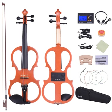 ammoon Full Size 4/4 Solid Wood Electric Silent Violin Fiddle Style-1