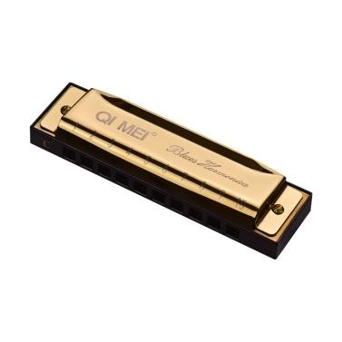 QI MEI 1020 Blues Mundharmonika Tonart C 10 Löcher 20 Melodien Diatonische Harfe Mundorgan mit Reinigungstuch und Aufbewahrungsbox Gold
