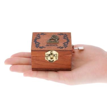Andoer Rétro Bois de Musique Box Manivelle Boîte à Musique Exécution Exquise 4  Patterns pour l