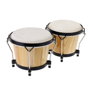 6 & 7 Inch Tunable Bongos Clear Finish Bongo Musical Instrument Educational Musical Percussion Toy Baby Kids Chidren