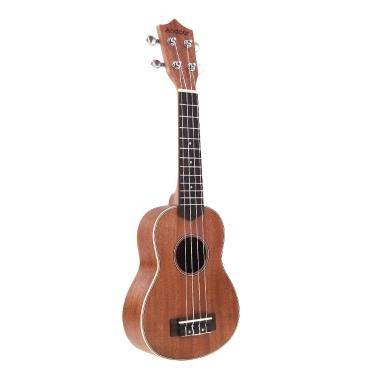 Andoer 21'' Compact Ukelele Ukulele Hawaiian Mahogany Aquila Rosewood Fretboard Bridge Soprano Stringed Instrument 4 Strings