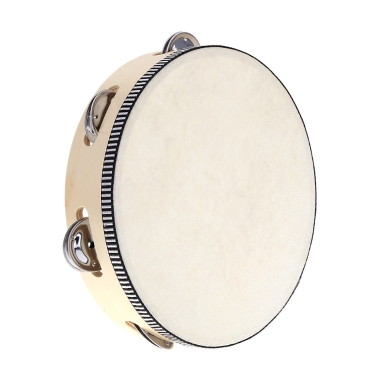 """8"""" Hand Held Tambourine Drum Bell Birch Metal Jingles Percussion Musical Educational Toy Instrument for KTV Party Kids Games"""