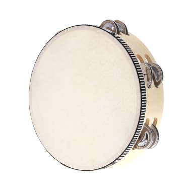 """8"""" Double Row Tambourine Drum Bell Birch Metal Jingles Percussion Musical Educational Toy Instrument for KTV Party Kids Games"""