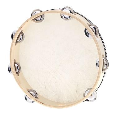 """10 """"Hand Tamburin Drum Bell Birke Metall Jingles Perkussion"""