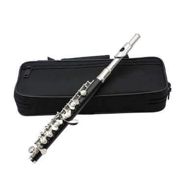 Piccolo Ottavino Half-size Flute Cupronickel Silver Plated C Key Tone with Cork Grease Polish Cloth Cleaning Stick Padded Box  Case Screwdriver