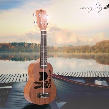 21u201d Mini  Ukulele Sapele Top Rosewood Fretboard Stringed Musical Instrument 4 Strings