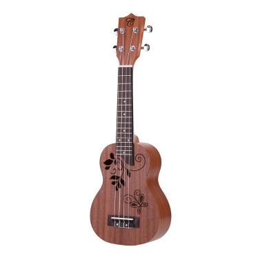 21u201d Mini Ukelele Sapele Top Rosewood Fretboard Stringed Musical Instrument 4 Strings