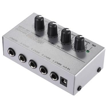 MX400 Ultrakompakter rauscharmer 4-Kanal-Line-Mono-Audiomischer mit Netzteil