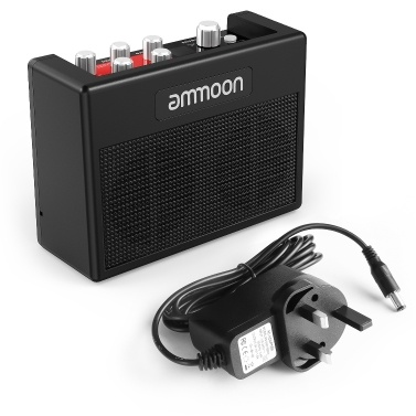 ammoon POCKAMP Portable Guitar Amplifier Amp Built-in Multi-effects 80 Drum Rhythms Support Tuner Tap Tempo Functions with Aux Input Headphone Output, Power adapter included