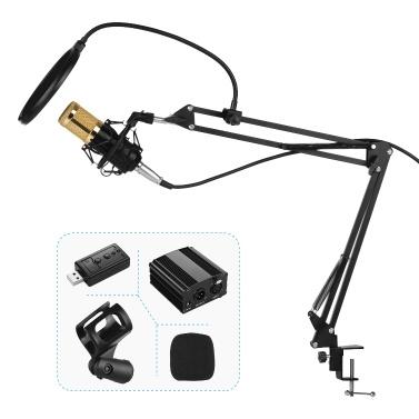 Professional Condenser Microphone Kit 48V Phantom Power Pop Filter Soundcard for Broadcasting Studio Recording