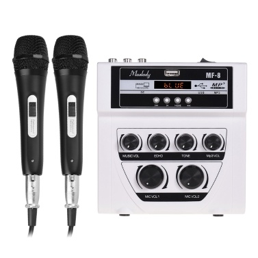 Muslady MF-8 Mini Sound Audio Mixer Stereo Echo Mixers Dual Mic Inputs Support BT Recording MP3 Function