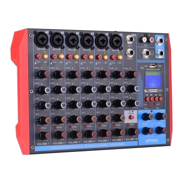 ammoon AG-8 Portable 8-Channel Mixing Console Digital Audio Mixer +48V Phantom Power Supports BT/USB/MP3 Connection for Music Recording DJ Network Live Broadcast Karaoke