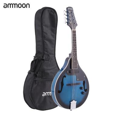 ammoon A-Style Electric Mandolin Basswood Body Rosewood Bridge Fingerboard 8 Strings EQ Gig Bag