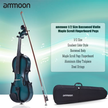 ammoon 1/2 Size Basswood Violin Maple Scroll Fingerboard Pegs Aluminum Alloy Tailpiece High Quality Rosin Bow Violin Case Gradient Color