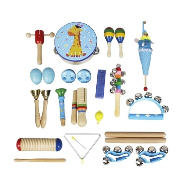 Musical Toys Percussion Instruments Band Rhythm Kit Kids Children Toddlers Tambourine Wooden Guiro Handbells Maracas Small Trumpet Harmonica