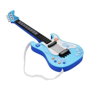 Crianças Pequena Guitarra com Luzes e Sons de Ritmo Divertidos Instrumentos Musicais Educacionais Brinquedo de Guitarra Elétrica para Bebé Crianças Meninos e Meninas Azuis
