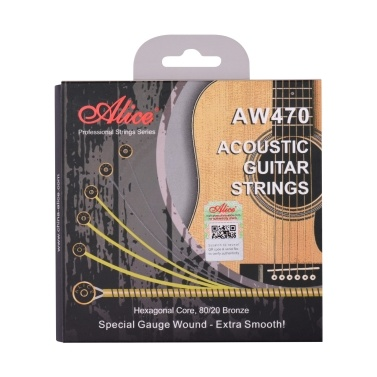 Alice AW470-CL Acoustic Guitar Strings Hexagonal Core & 80/20 Bronze Winding String Set Custom  Light Tension Strings for Guitars from for 34 to 39 Inch