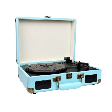 Vintage Phonograph Portable Suitcase Record Player Belt Drive Turntable with 3 Speeds Aux Input RCA Output Headphone Jack
