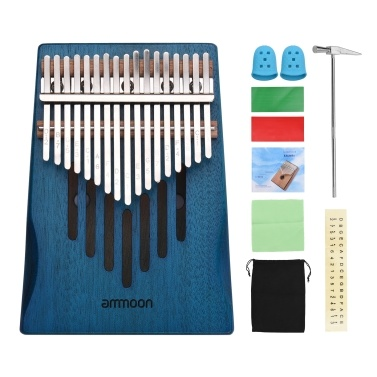 ammoon 17-Key Solid Wood Kalimba Finger Piano Thumb Piano with Tuning Hammer Wipe Cloth Notes Sticker 2pcs Finger Guards