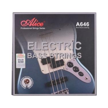 Alice A646(4)-M Electric Bass Strings Hexagonal Core Iron Alloy Winding Strings for 4-String 22-24 Frets Electric Bass