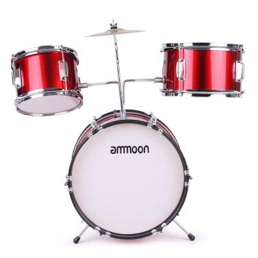 ammoon 3-Piece Kids Children Junior Drum Set Drums Kit Percussion Musical Instrument Cymbal Drumsticks Adjustable Stool