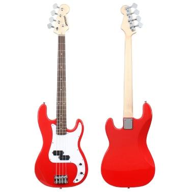ammoon 固体木材電気低音ギター PB スタイル バスウッド体ローズウッド指板 Gig バッグ ストラップ ケーブル ピックアップ