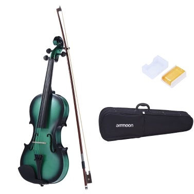 ammoon 4/4 Full Size Basswood Violin Maple Scroll Fingerboard Pegs Aluminum Alloy Tailpiece High Quality Rosin Bow Violin Case Gradient Color
