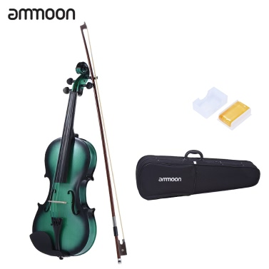 ammoon 1/4 Size Basswood Violin Maple Scroll Fingerboard Pegs Aluminum Alloy Tailpiece High Quality Rosin Bow Violin Case Gradient Color