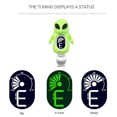 Cute Cartoon Alien Clip-On Tuner LCD Display for Guitar Chromatic Bass Ukulele Violin