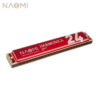 NAOMI 24 Holes Tremolo Harmonica Key of C Stainless Steel Mouth Organ Harmonicas with Case Wind Instrument Red