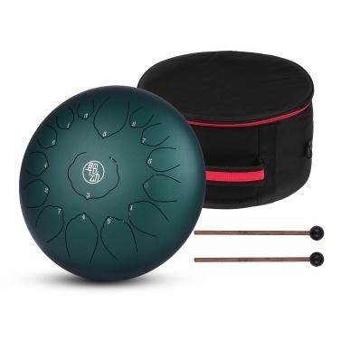 14 Inch Steel Tongue Drum Hangpan Drum 15-Notes C-Key Percussion Instrument