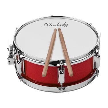 Muslady 12inch Snare Drum Head mit Drumsticks Schultergurt Drum Key für Student Band