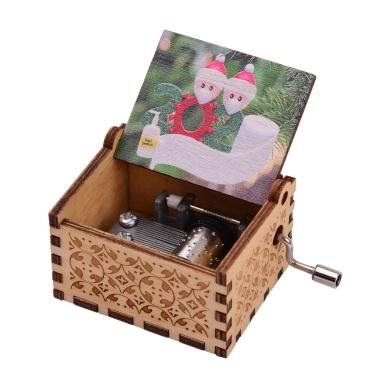 Mini carillon a manovella in legno con motivi vintage incisi