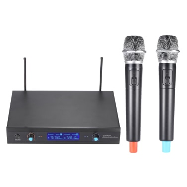 2-Channnel Handheld Wireless UHF Microphone Mic System 2 Microphones 1 Receiver LCD Display 6.35mm Audio Cable Power Adapter Karaoke Meeting Party