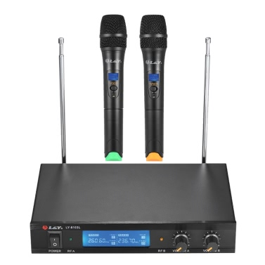 L&Y LY-8103L Dual Channel VHF Wireless Microphone System 2 Handheld Microphones LCD Display Receiver 6.35mm Audio Cable Power Adapter