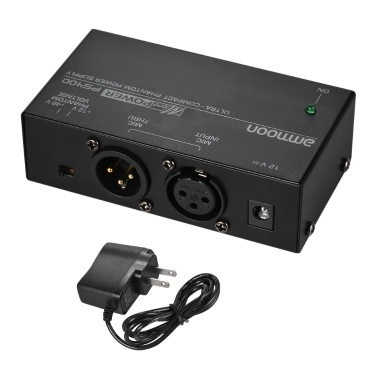 ammoon Ultra-compact Condenser Microphone Phantom Power Supply +12V +48V Selectable with Power Adapter