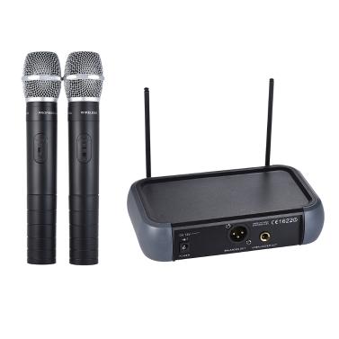 ammoon Dual Channel VHF Wireless Handheld Microphone System Echo Function Karaoke Family Party Performance Presentation Public Address
