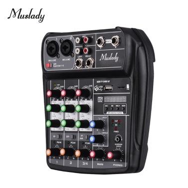 Muslady AI-4 Compact Sound Card Mixing Console Digital Audio Mixer 4-Channel BT MP3 USB Input +48V Phantom Power