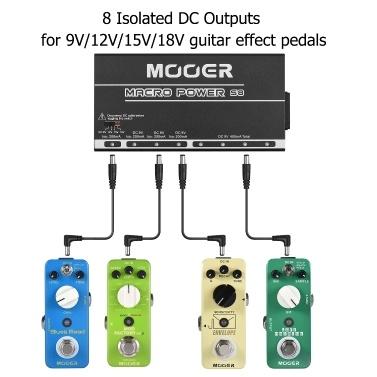 MOOER MACRO POWER S8 Professional Guitar Effect Power Supply Station Distributor 8 Isolated DC Outputs 9V/12V/15V/18V Metal Shell