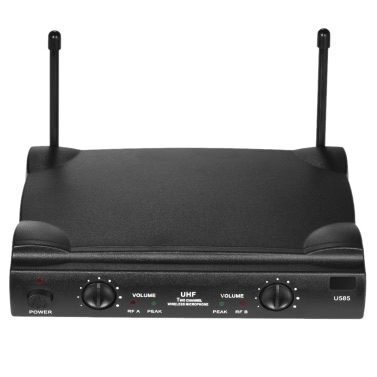 UHF Dual Channels Wireless Microphone Mic System 2 Bodypack Transmitter 2 Headset Microphones 1 Receiver 6.35mm Audio Cable Power Adapter DJ Karaoke