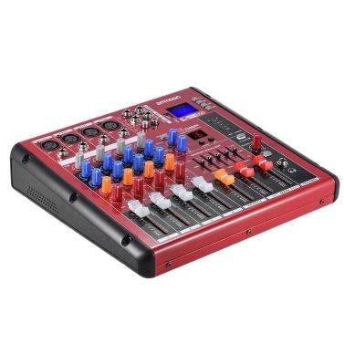 Ammoon Digital BT 4-Kanal Mic Line Audio Mixer Mischpult für die Aufnahme DJ Bühne Karaoke Music Appreciation