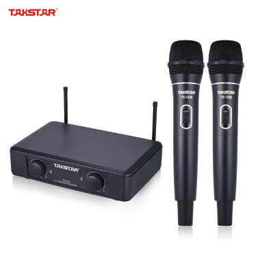 TAKSTAR TS-7220HH UHF Dual-channel Wireless Microphone Mic System 2 Handheld Microphones 1 Receiver 6.35mm Audio Cable Power Adapter Speech Karaoke Meeting Party