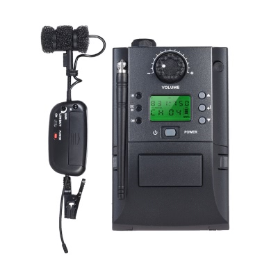 Portable Clamp Clip UHF Instrument Wireless Microphone System Receiver & Transmitter 32 Channels Sax Saxophone
